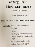 """Mardi Gras"" Coming Home Dance"
