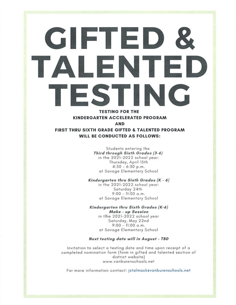 Gifted and Talented Testing Information for 2021-2022