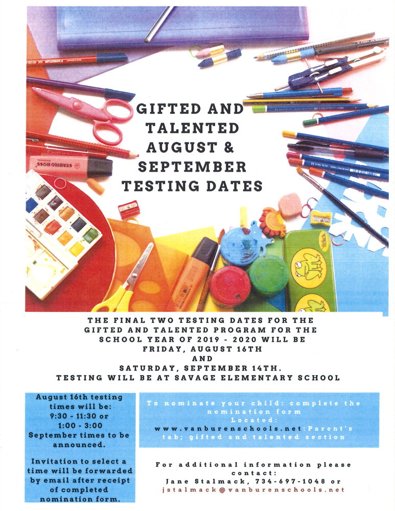 Gifted & Talented August & September Testing Dates