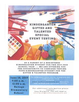 Kindergarten Gifted & Talented Testing