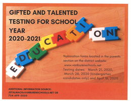 Gifted and Talented Testing for 2020-2021