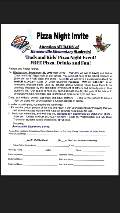 We hope to see all the Super Rawsonville Gentlemen at the pizza night on the September 26th from 6:00-7:00 P.M.!