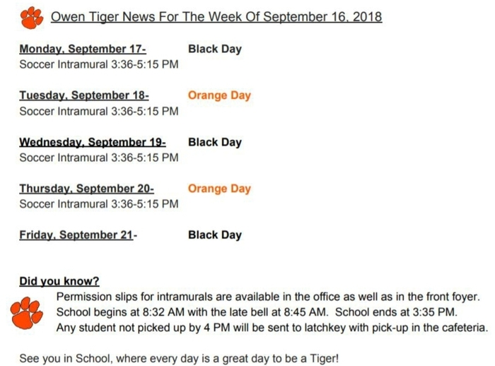 Owen Tiger News-9/16/18