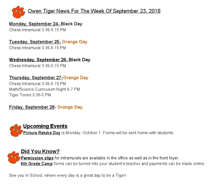 Owen Tiger News 09/23/18