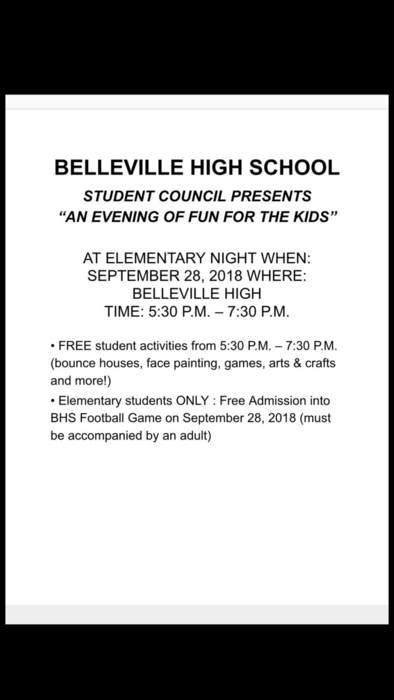 HELLO MUSTANGS!! I wanted to remind you all about Elementary Night at Belleville High School this Friday!! We hope to see you there!! (:
