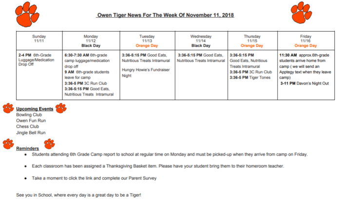 Owen Tiger News 11/11/18