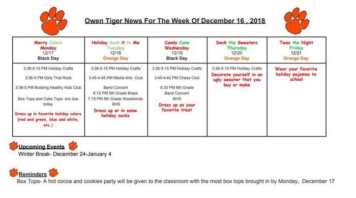 Owen Tiger News 121618