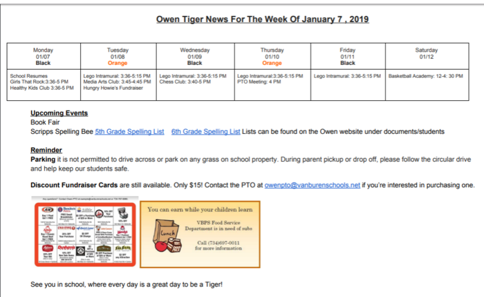 Tiger News January 7, 2019
