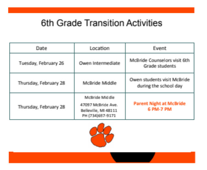 6th grade transition activities