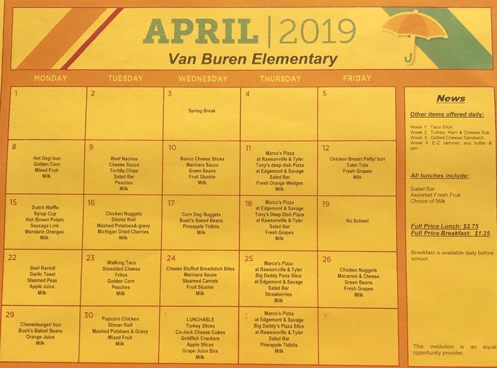 Lunch Menu for April